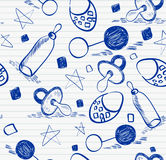 Doodle seamless pattern. Sweet babies doodle seamless pattern for boy Stock Image