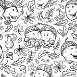 Doodle seamless pattern with acorn characters and leaves Royalty Free Stock Photo