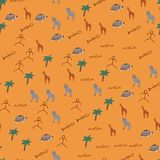 Doodle seamless pattern with African animals. vector illustration