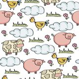Doodle seamless pattern with animal farm. Vector eps 10 royalty free illustration