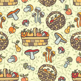Doodle seamless pattern.Autumn harvest  Royalty Free Stock Photography