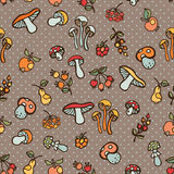 Doodle seamless pattern.Autumn harvest vector.Polka dot Royalty Free Stock Photo