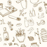 Doodle seamless pattern of ayurveda elements Vintage illustration Royalty Free Stock Images