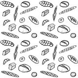Doodle seamless pattern of bakery products Stock Photography