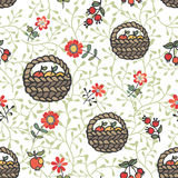 Doodle seamless pattern.Basket with apples,flowers,branches Royalty Free Stock Photography