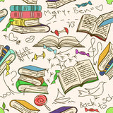 Doodle seamless pattern of books and children Royalty Free Stock Image