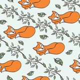 Doodle seamless pattern.Branches,sleeping Fox Royalty Free Stock Images