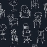 Doodle seamless pattern with chairs Vector Stock Image
