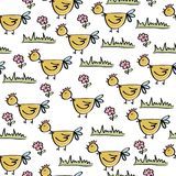 Doodle seamless pattern with chicken. Vector eps 10 royalty free illustration