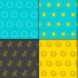 Doodle seamless pattern collection. hand-drawing simple graphic geometric elements Royalty Free Stock Images