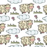 Doodle seamless pattern with cows. Vector eps 10 royalty free illustration