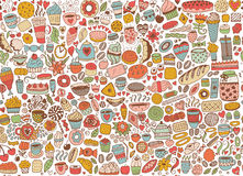 Doodle seamless pattern with cupcakes Royalty Free Stock Photos