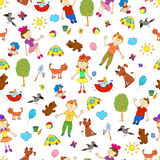 Doodle seamless pattern of cute child's life including pets Royalty Free Stock Photos