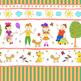 Doodle seamless pattern of cute child's life. Royalty Free Stock Photo