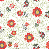 Doodle seamless pattern.Cute flowers,Apples, Stock Images
