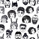 Doodle seamless pattern of a diverse people faces. Stock Photography
