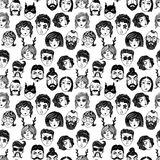 Doodle seamless pattern of a diverse people faces. Royalty Free Stock Image