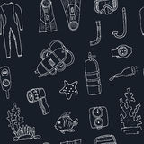 Doodle seamless pattern of diving tools Vintage illustration Royalty Free Stock Images