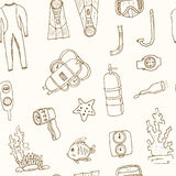 Doodle seamless pattern of diving tools Vintage illustration Royalty Free Stock Photo