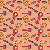 Doodle  seamless pattern of dog items elements. Pet icons walking, feeding, grooming salon equipment Royalty Free Stock Photo