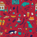 Doodle seamless pattern, enjoy life concept. Royalty Free Stock Photos