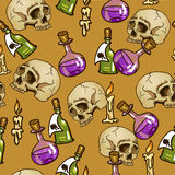 Doodle seamless pattern with flasks and skulls Royalty Free Stock Images