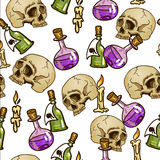 Doodle seamless pattern with flasks and skulls Stock Photo