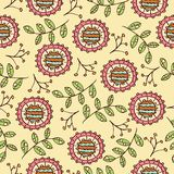 Doodle seamless pattern with flowers and leafs Royalty Free Stock Photo