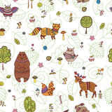 Doodle seamless pattern with forest animals Stock Photography