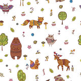 Doodle seamless pattern with forest animals Royalty Free Stock Photo