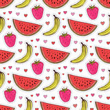 Doodle seamless pattern with fruits. Banana, strawberry and watermelon vector background. Wrapping paper or textile Stock Photos