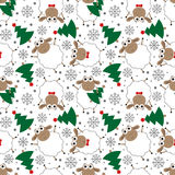 Doodle seamless pattern of funny New Year sheep. Vector illustration stock illustration