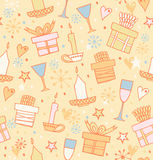 Doodle seamless pattern with gifts, candles Stock Photos