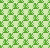 Doodle  seamless pattern of green christmas fir tree Royalty Free Stock Images