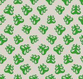 Doodle  seamless pattern of green christmas fir tree Stock Images