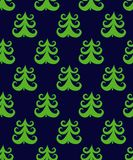 Doodle  seamless pattern of green christmas fir tree Stock Photos