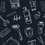 Doodle seamless pattern with hair removal tools Vector Stock Photography