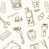 Doodle seamless pattern with hair removal tools Vector Royalty Free Stock Images