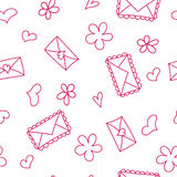 Doodle seamless pattern with hearts and envelops Stock Photos