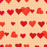 Doodle seamless pattern with hearts Royalty Free Stock Image