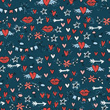 Doodle seamless pattern with hearts, stars, lips, arrows adn flowers. Vector illustration Stock Photos