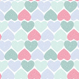 Doodle seamless pattern with hearts on white background Optical illusion 3D three-dimensional volume. Vector Royalty Free Stock Images