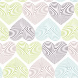 Doodle seamless pattern with hearts on white background Optical illusion 3D three-dimensional volume. Vector Stock Photos