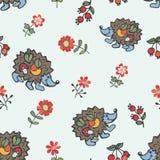 Doodle seamless pattern.Hedgehog,flowers,berries Royalty Free Stock Photos