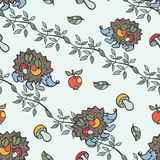 Doodle seamless pattern.Hedgehog,mushrooms, apples,branches Royalty Free Stock Photo