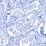 Doodle seamless pattern for Indian Independence Day. Royalty Free Stock Image