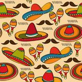 Doodle seamless pattern with mexico symbols Royalty Free Stock Photo