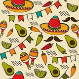 Doodle seamless pattern with mexico symbols Royalty Free Stock Photography
