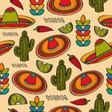 Doodle seamless pattern with mexico symbols Stock Photography