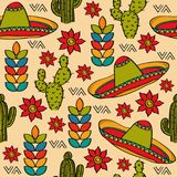Doodle seamless pattern with mexico symbols Stock Images